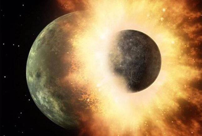 Theia choca contra la Tierra