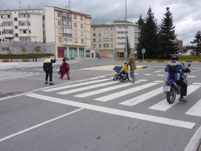 Paso de peatones en Pamplona
