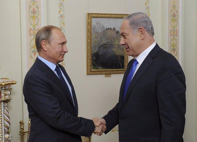 Reunión del presidente Vladimir Putin y del primer ministro Benjamin Netanyahu