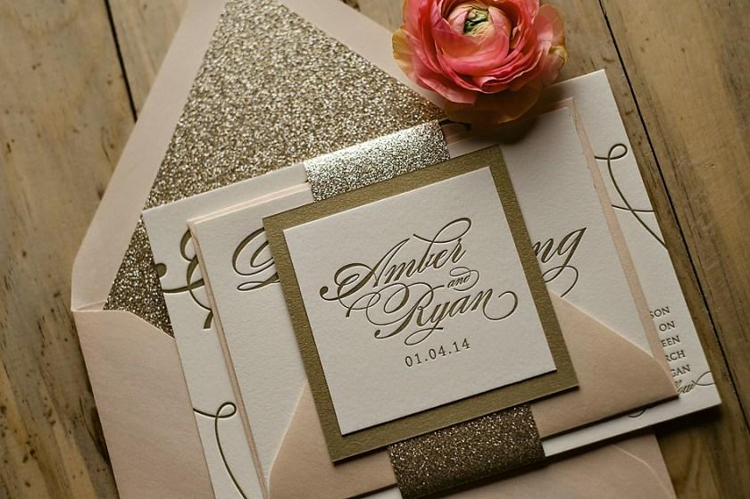 Fl Romantic Lavender Letterpress Wedding Invitation With Divorced And Steppas Joint Host Wording