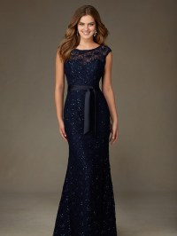 Navy Blue Lace Bridesmaid Dresses