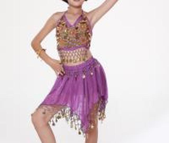 Quality Shinning Sexy Girls Girls Belly Dancing Costume With Coins Paillettes In For Sale
