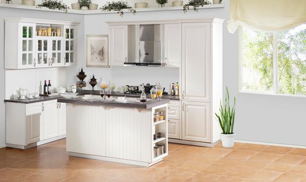 China Modern Kitchen Cabinets With PVC Thermo Foil Finish For