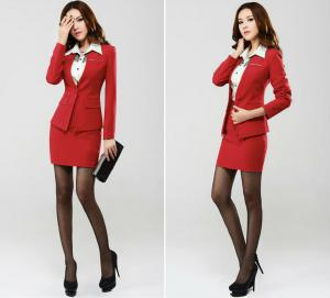 Anti Shrink Official Ladies Business Suits Red Black