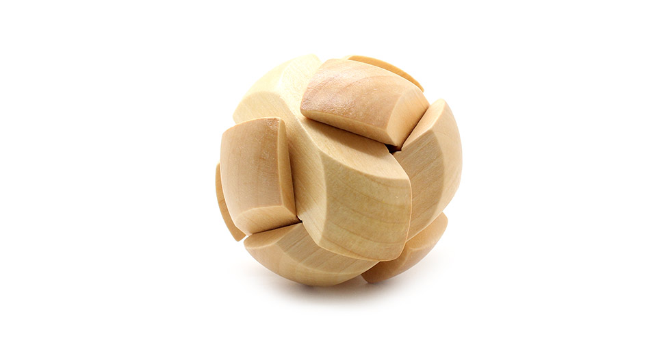 Wooden Ball Shaped Pull-Apart IQ Puzzle Toy