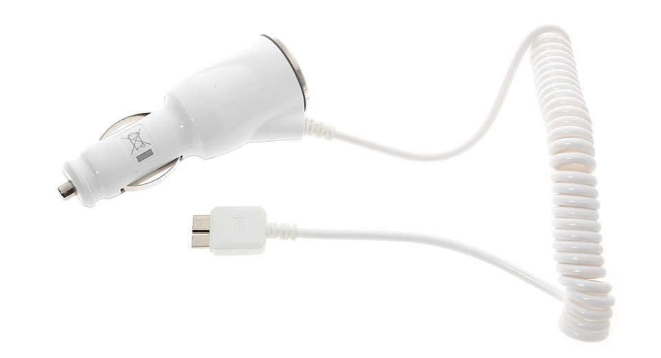 Micro-USB v3.0 Coiled Car Charger Adapter for Samsung Galaxy Note III