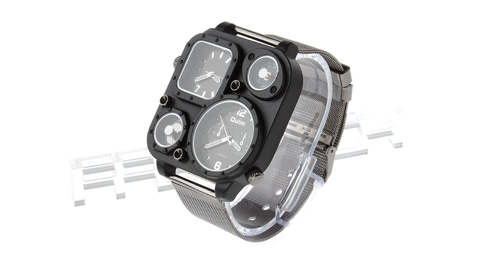 Oulm 1169 Mens Dual Movt Quartz Wrist Watch w/ Thermometer + Compass