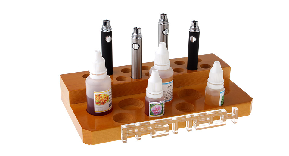 Wood 2-Layer 25-Hole Display Stand for Electronic Cigarettes
