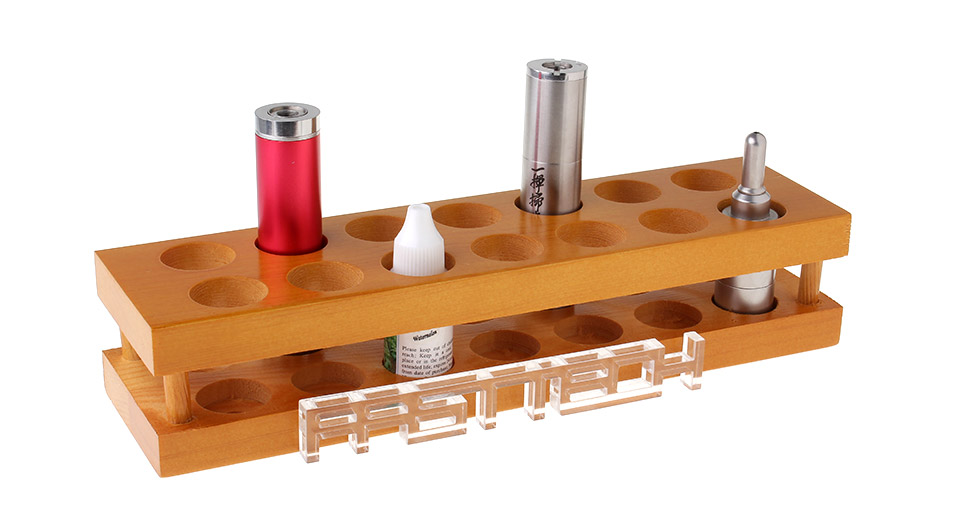 Wood 2-Layer 14-Hole Display Stand for Electronic Cigarettes