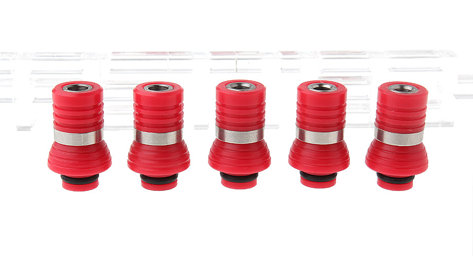 POM + Stainless Steel Hybrid 510 Drip Tip w/ Mushroom Insulation Base (5-Pack)