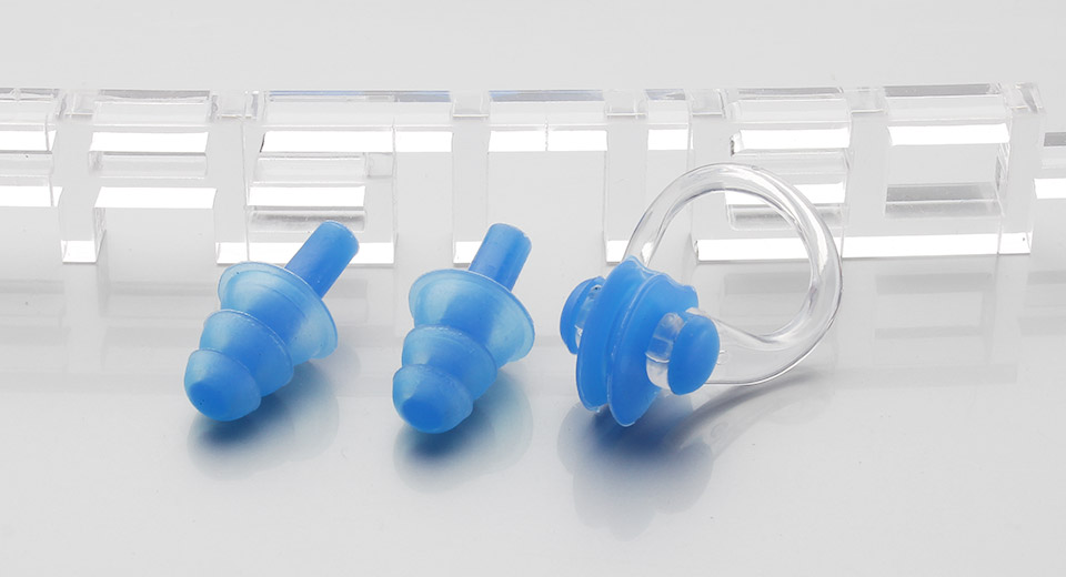 Silicone Swimming Ear Plugs + Nose Clip Set