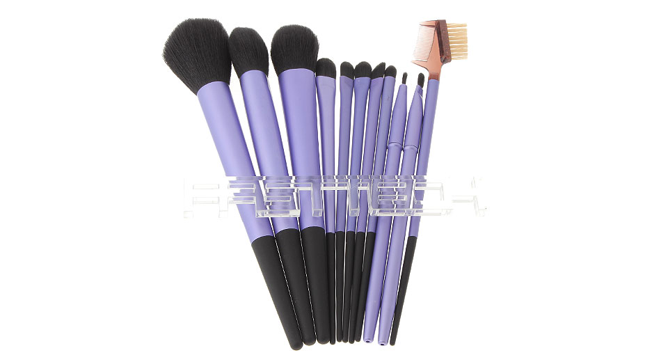 Makeup Brushes Set w/ Grid Styled PU Bag (11-Piece)