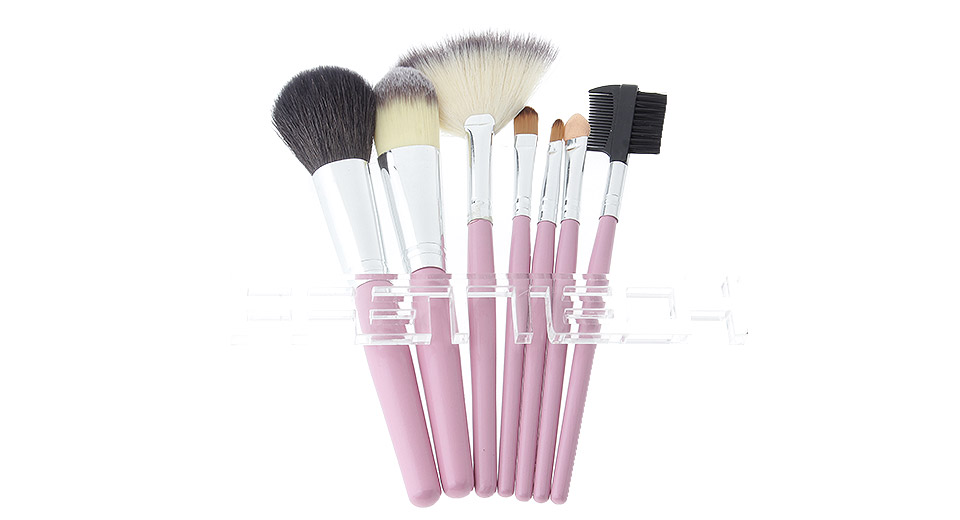 Makeup Brushes Set w/ Grid Styled Bag (7-Piece)