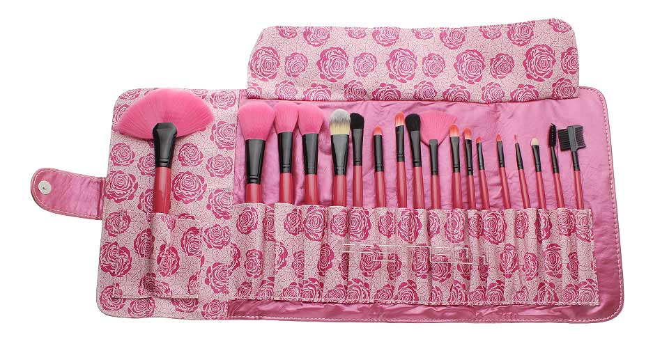 Makeup Brushes Set w/ Rose Styled Bag (18-Piece)