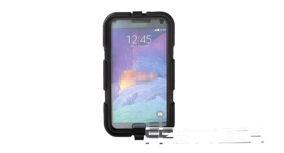 Protective Plastic + Silicone Back Case w/ Detachable Holder for Samsung Galaxy Note 4