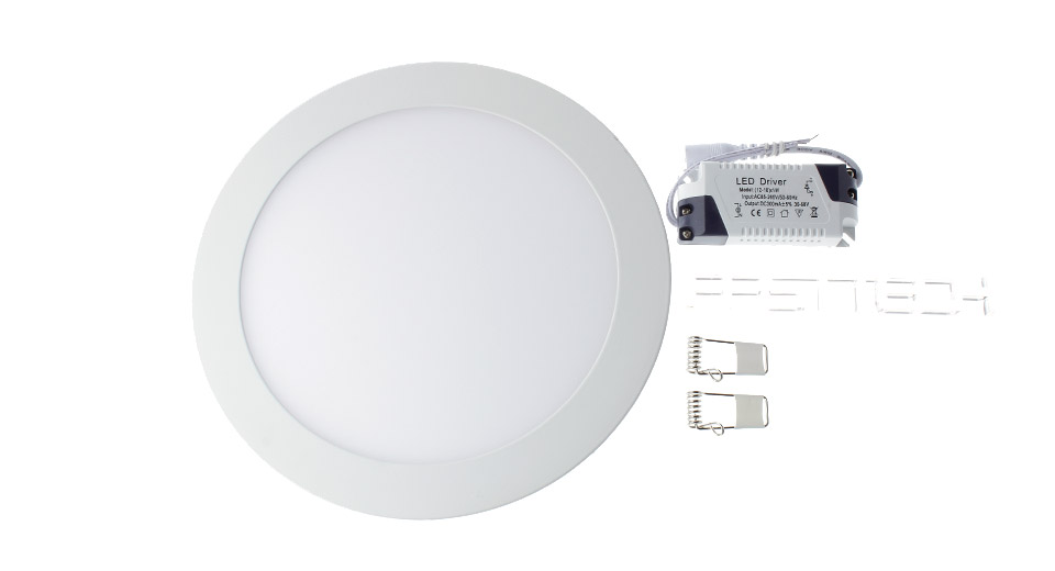 18W 90*2835 1580LM 6500K Pure White LED Round Panel Light