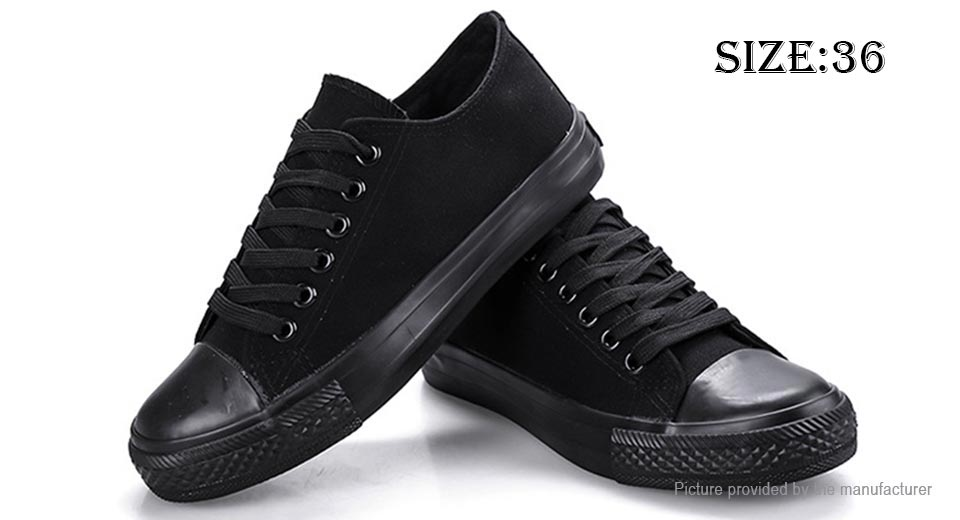 Womens Lace Up Low Top Canvas Shoes Sneakers (Size 36/Black)
