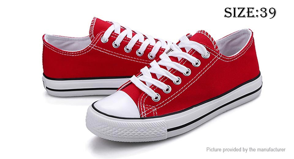Womens Lace Up Low Top Canvas Shoes Sneakers (Size 39/Red)