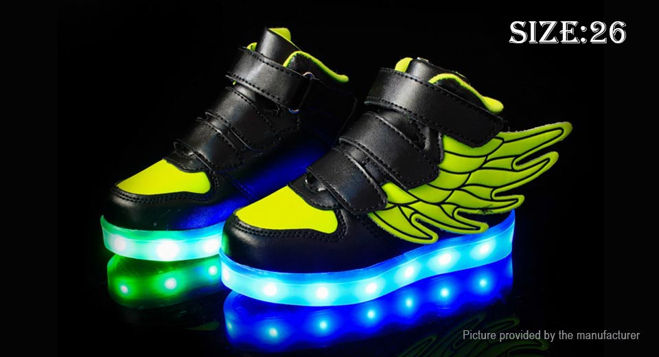 Unisex Kids LED Light Up Wings Decorative Shoes Sneakers (Size 26/Black + Green)