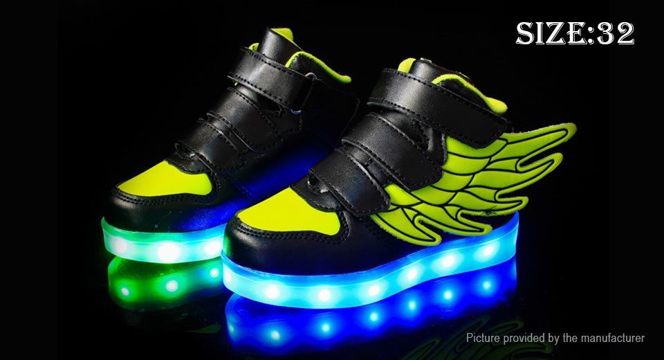 Unisex Kids LED Light Up Wings Decorative Shoes Sneakers (Size 32/Black + Green)