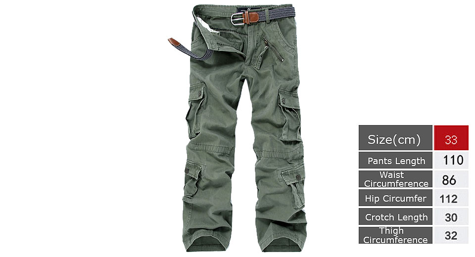 Mens Casual Loose Multi Pocket Military Cargo Pants Trousers (Size 33)