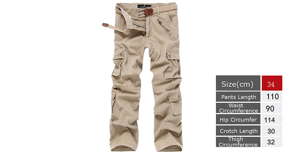 Mens Casual Loose Multi Pocket Military Cargo Pants Trousers (Size 34)