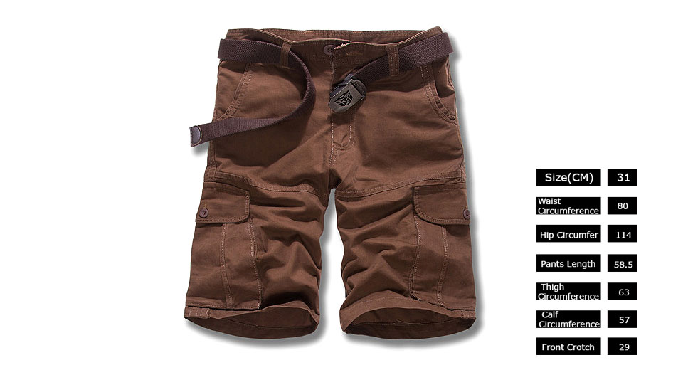 Mens Casual Loose Big Pocket Military Cargo Shorts (Size 31)