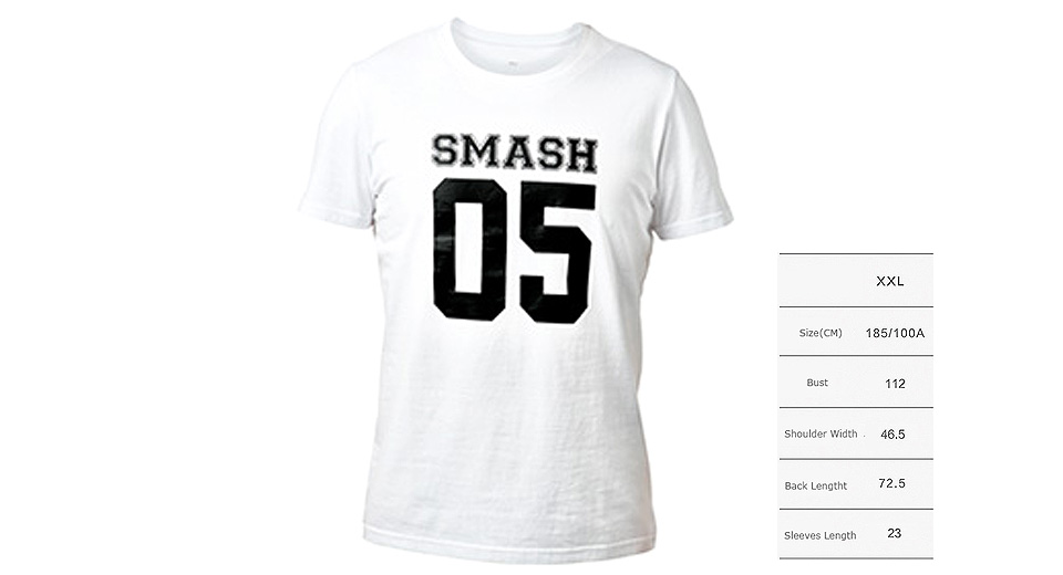 Authentic Xiaomi Mi SMASH 05 Printed Unisex Short Sleeve T-shirt (Size 2XL)
