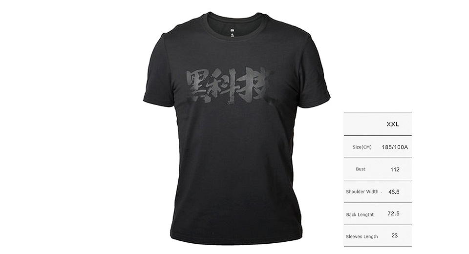 Authentic Xiaomi Mi Chinese Character Black Tech Short Sleeves T-shirt (Size 2XL)