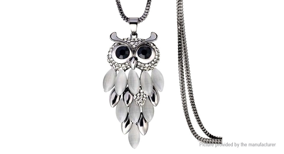 Owl Design Crystal Long Sweater Pendent Necklace