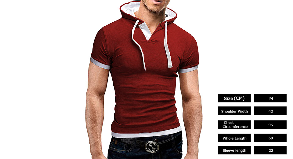 Mens Stitching Color Hooded Casual Short Sleeve T-shirt (Size M)