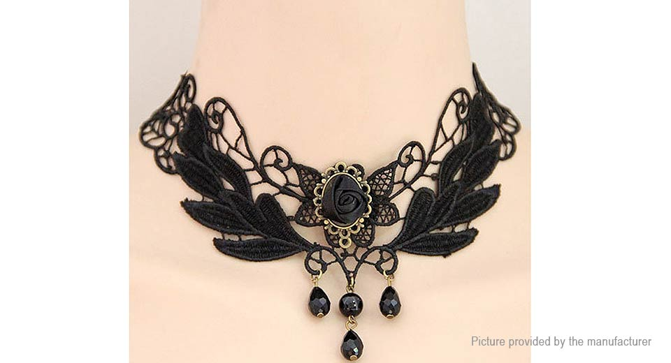 Rose Flower Lace Lolita Beads Pendant Gothic Choker Necklace