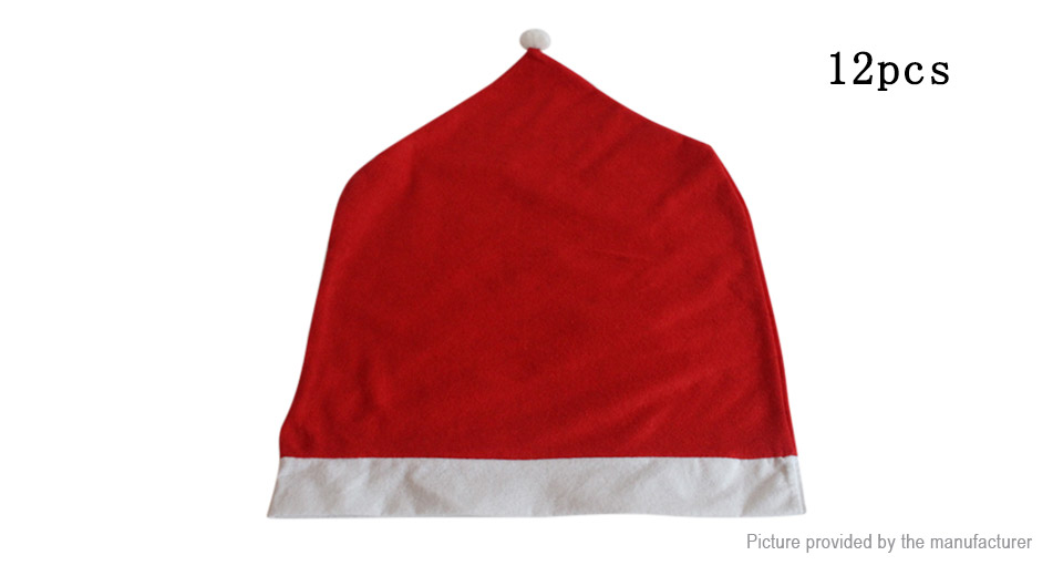 Santa Claus Hat Styled Chair Slip Cover Christmas Home Dinner Decor (12-Pack)