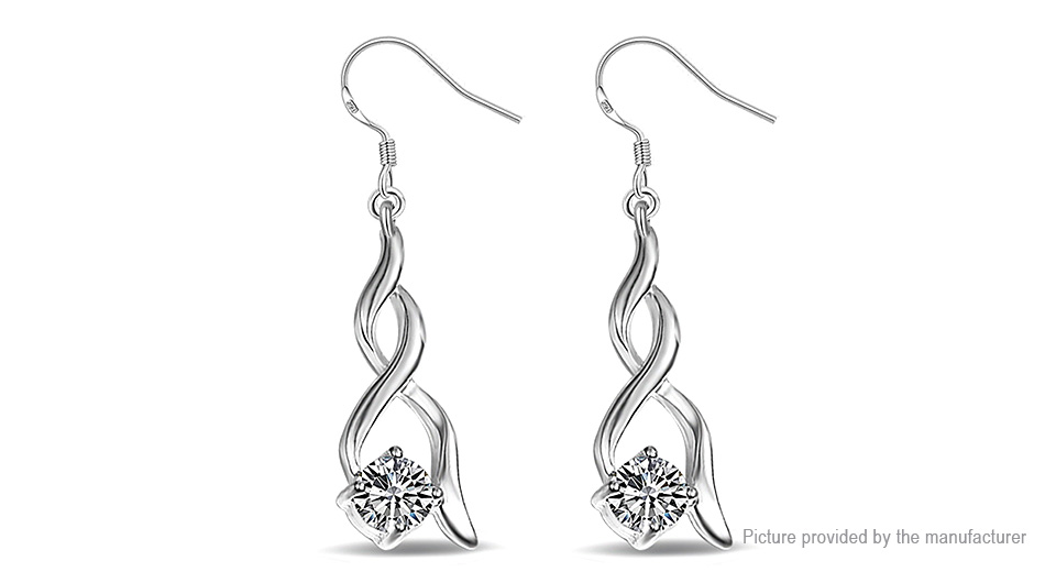 Womens Unique Crystal Embedded Intertwined Drop Earrings (Pair)