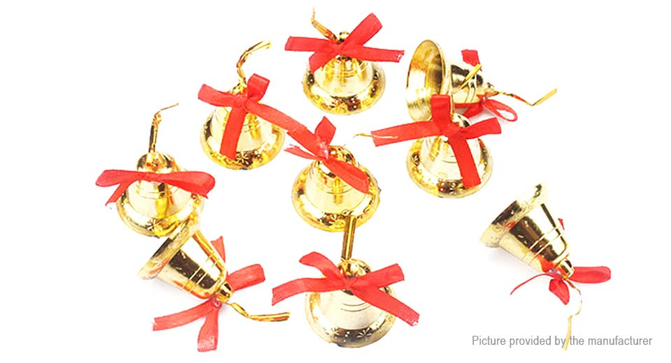 Golden Bell Christmas Tree Decoration Hanging Ornament (9-Pack)