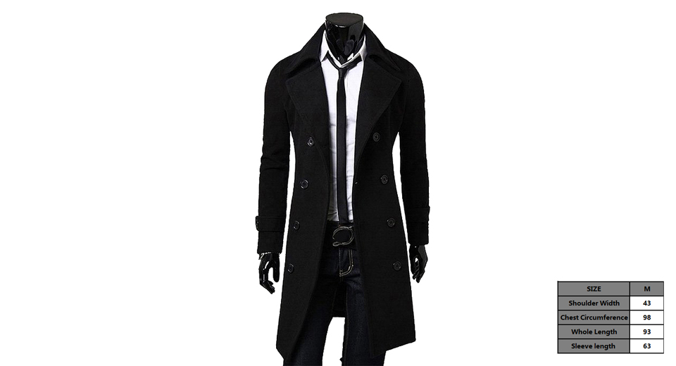 Mens Wide Lapel Double Breasted Wool Blend Overcoat (Size M)