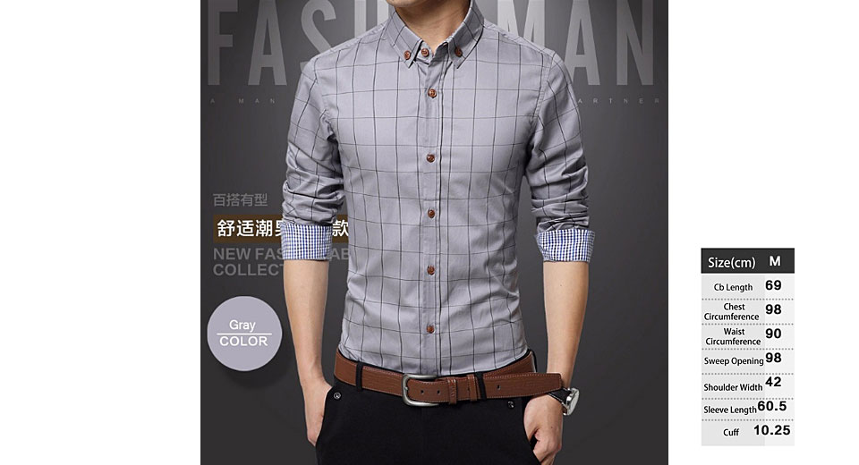 Mens Grid Pattern Button-Down Long Sleeve Thicken Shirt (Size M)
