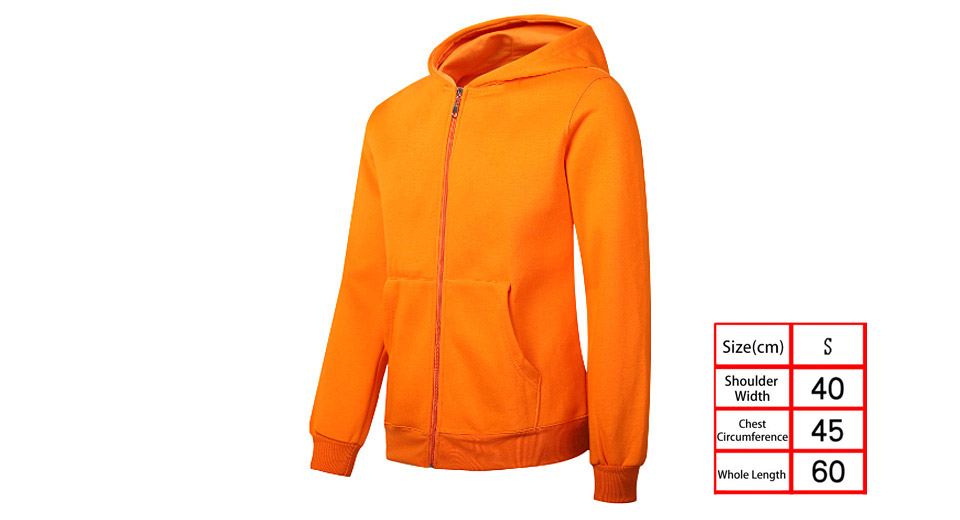 Unisex Drawstring Long Sleeve Thicken Hoodie Zip Up Hooded Coat (Size S)