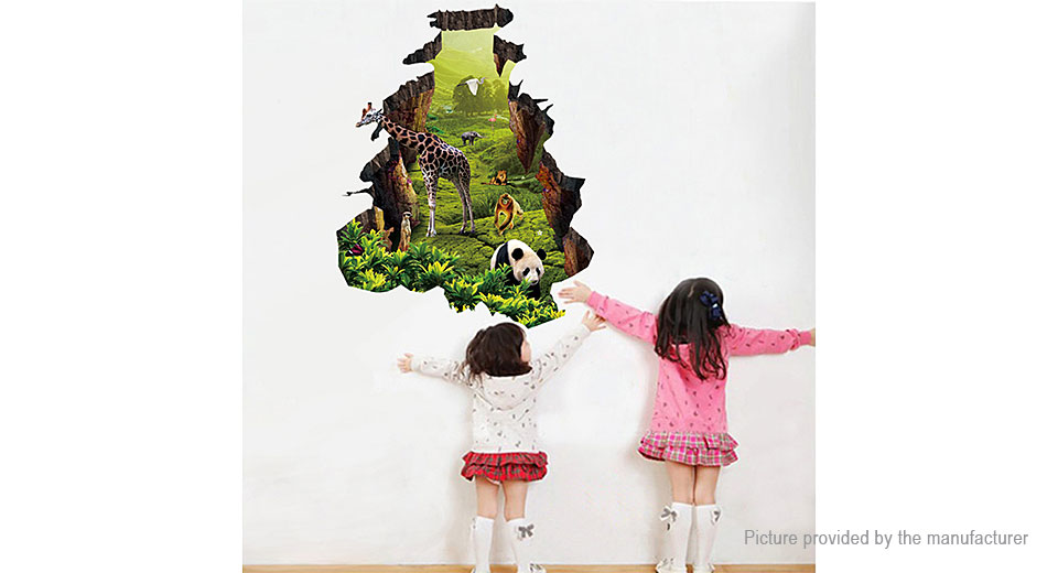 3D Animal Landscape Styled Removable Wall Sticker Home Decor