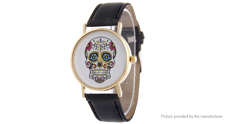 Unisex Fashion Skull Pattern Round Dial PU Leather Band Quartz Wrist Watch