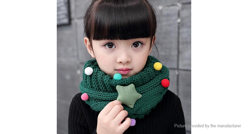 Baby Kids Star & Balls Decorated Winter Warm Knitted Infinity Scarf