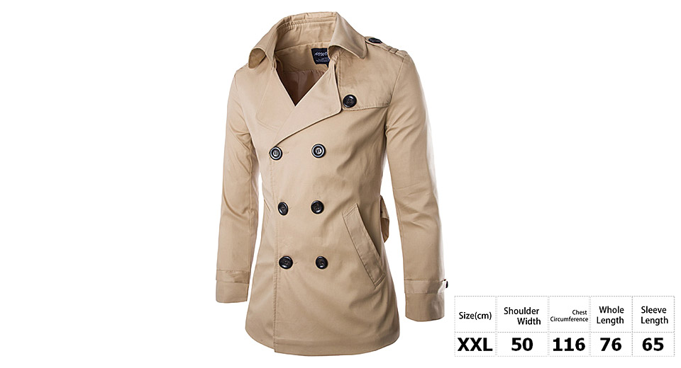 Mens Turn-Down Collar Double Breasted Slim Fit Trench Coat (Size 2XL)