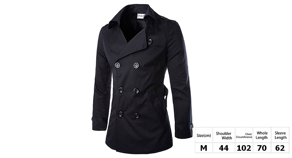 Mens Turn-Down Collar Double Breasted Slim Fit Trench Coat (Size M)