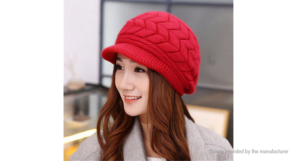 Womens Winter Warm Fleece Lined Cable Knitted Hat w/ Visor