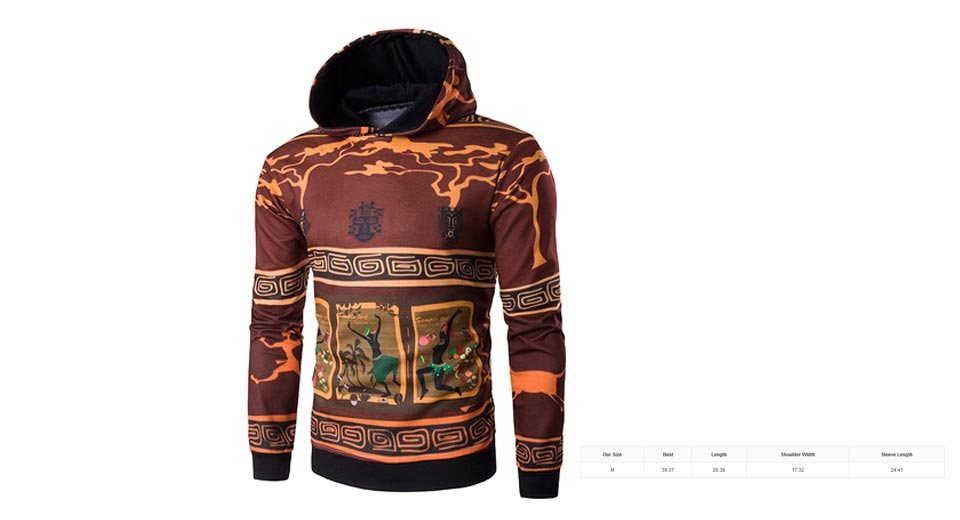 Mens 3D Ethnic Style Cartoon Print Long Sleeve Pullover Hoodie (Size M)