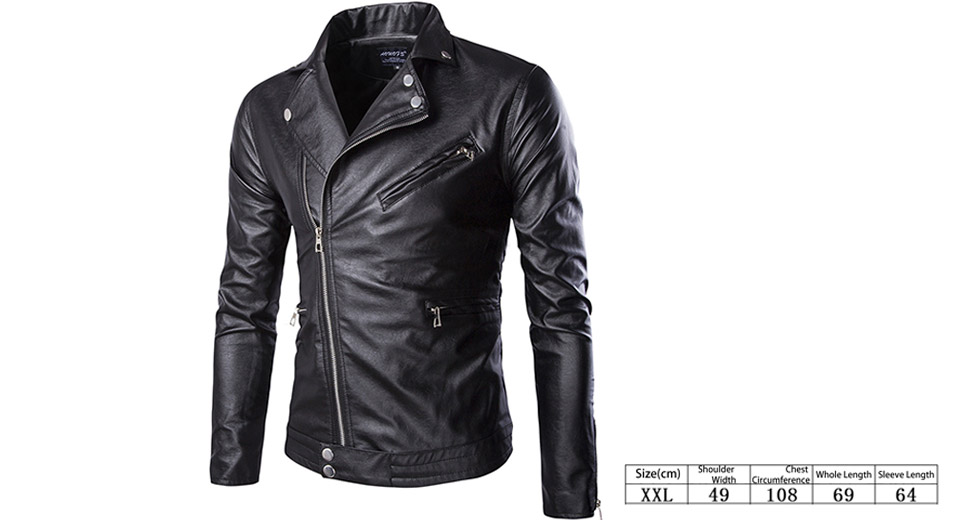 Mens Inclined Zipper Turn-Down Collar Slim Fit PU Leather Jacket (Size 2XL)