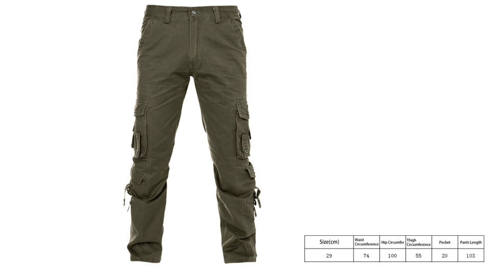 Mens Multi Pockets Casual Loose Cotton Cargo Pants (Size 29)