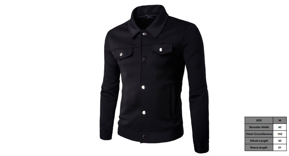 Mens Long Sleeve Button Front Casual Jacket Coat (Size M)