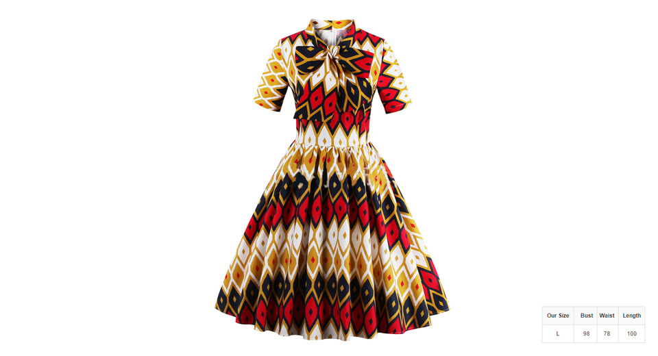 Womens Vintage Color Block Geometric Print Bowknot Dress (Size L)