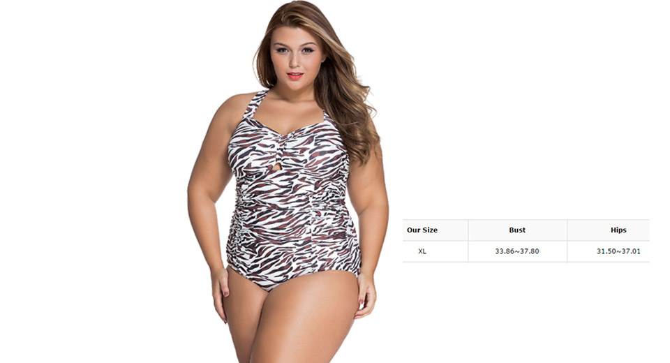 Womens Plus Size Leopard Print Criss Cross Swimwear (Size XL)